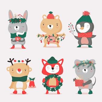 Ręcznie rysowane kolekcja postaci bożonarodzeniowych
