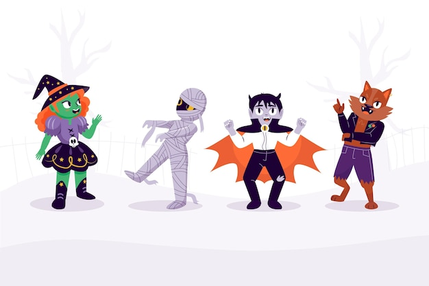 Ręcznie rysowane kolekcja postaci halloween
