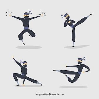 Ręcznie rysowane kolekcja postaci ninja w różnych pozach