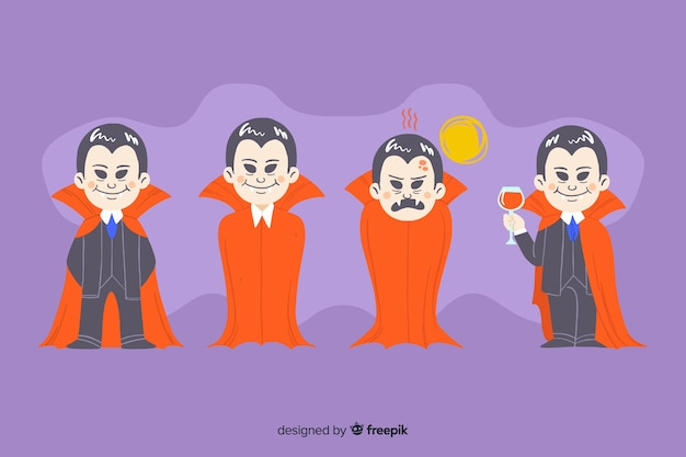 Ręcznie rysowane kolekcja postaci wampira z peleryną
