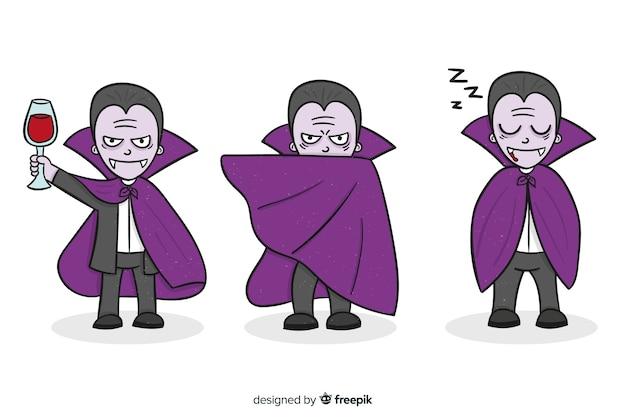 Ręcznie rysowane kolekcja postaci wampirów na fioletowo