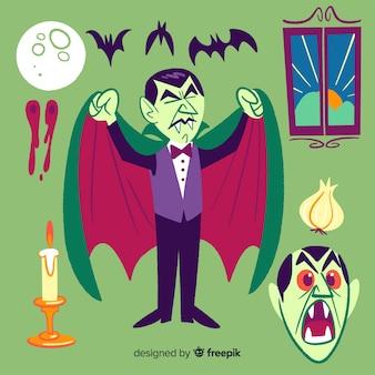 Ręcznie rysowane kolekcja postaci wampirów