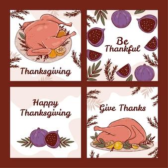 Ręcznie rysowane kolekcja postów na instagram dziękczynienia