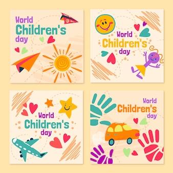 Ręcznie rysowane kolekcja postów na instagram dzień dziecka z płaskim światem