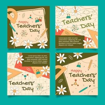 Ręcznie rysowane kolekcja postów na instagram dzień nauczycieli