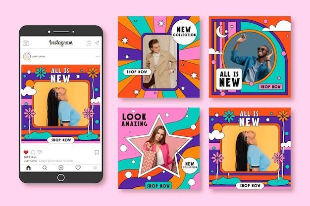Ręcznie rysowane kolekcja postów na instagramie groovy sprzedaż