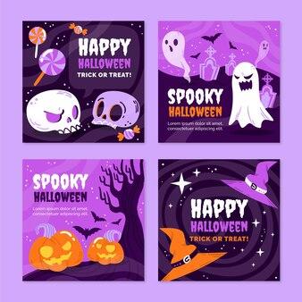 Ręcznie rysowane kolekcja postów na instagramie halloween