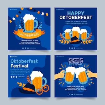 Ręcznie rysowane kolekcja postów na instagramie oktoberfest