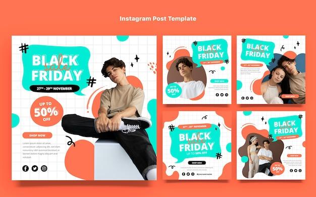 Ręcznie rysowane kolekcja postów na instagramie płaski czarny piątek
