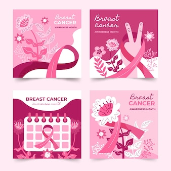 Ręcznie rysowane kolekcja postów na instagramie płaskiego miesiąca świadomości raka piersi
