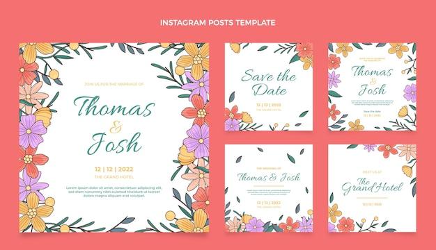 Ręcznie rysowane kolekcja postów na instagramie ślubnym