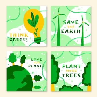 Ręcznie rysowane kolekcja postów na instagramie światowego dnia środowiska