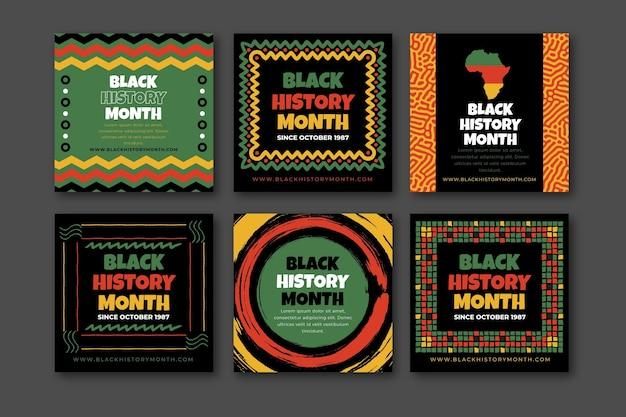 Ręcznie rysowane kolekcja postów na instagramie w płaskiej czarnej historii