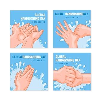 Ręcznie rysowane kolekcja postów na instagramie z okazji globalnego dnia mycia rąk