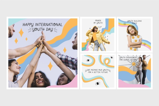Ręcznie rysowane kolekcja postów na instagramie z okazji międzynarodowego dnia młodzieży ze zdjęciem
