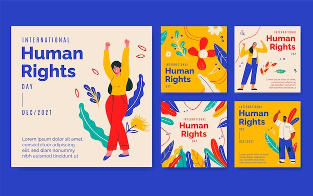 Ręcznie rysowane kolekcja postów na instagramie z okazji międzynarodowego dnia praw człowieka