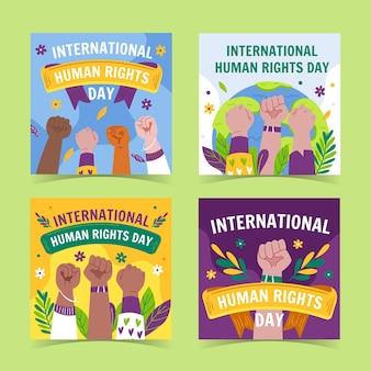 Ręcznie rysowane kolekcja postów na instagramie z płaskim międzynarodowym dniem praw człowieka