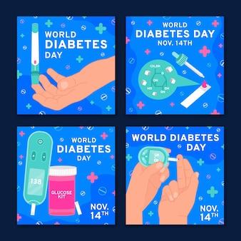 Ręcznie rysowane kolekcja postów na instagramie z płaskim światowym dniem cukrzycy
