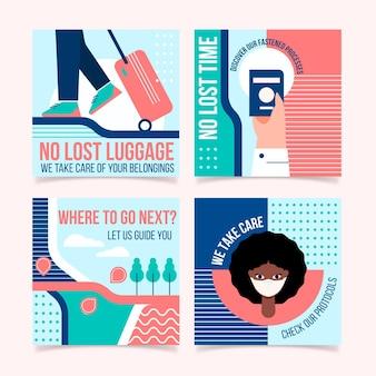 Ręcznie rysowane kolekcja postów na instagramie z podróżami