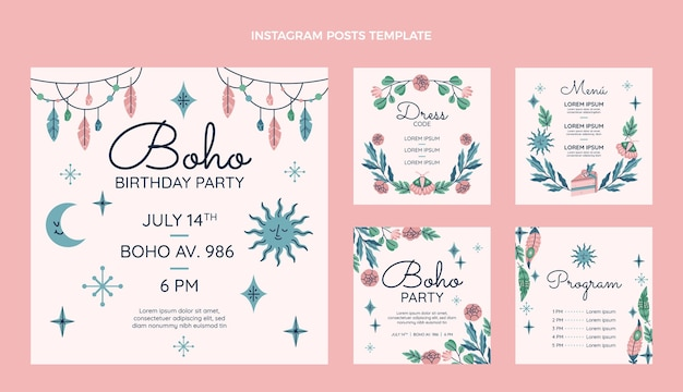 Ręcznie Rysowane Kolekcja Postów Urodzinowych Boho Na Instagramie Darmowych Wektorów