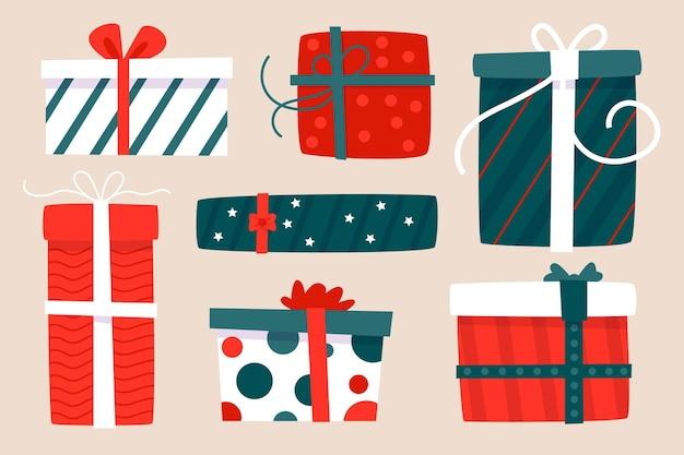 Ręcznie rysowane kolekcja prezentów świątecznych
