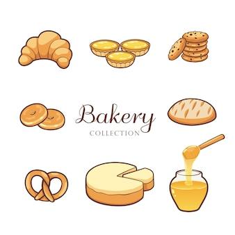 Ręcznie rysowane kolekcja produktów piekarniczych