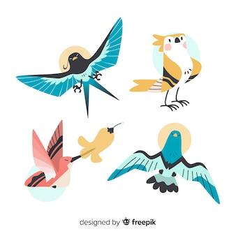 Ręcznie rysowane kolekcja ptaków tropikalnych