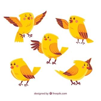 Ręcznie rysowane kolekcja ptaków w kolorze żółtym