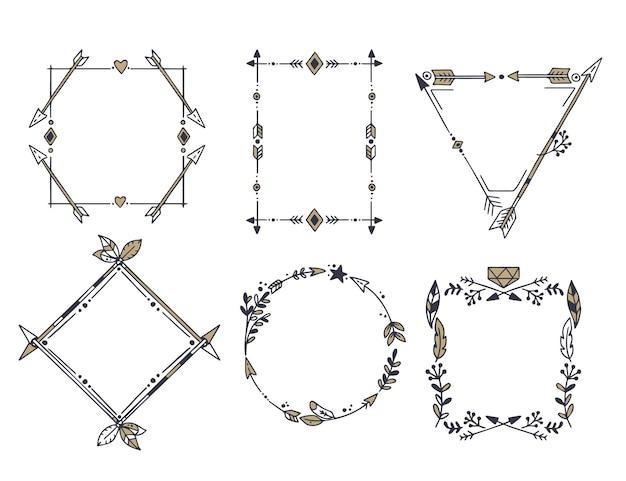 Ręcznie rysowane kolekcja ramek boho
