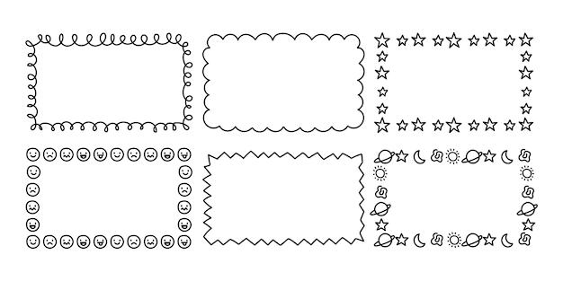 Ręcznie rysowane kolekcja ramek ozdobnych doodle doodle