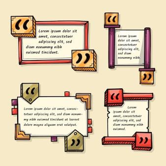 Ręcznie Rysowane Kolekcja Ramki Pole Cytat Premium Wektorów