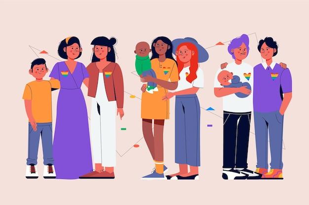 Ręcznie rysowane kolekcja rodzinna dzień dumy
