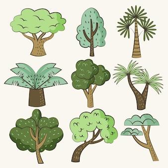Ręcznie rysowane kolekcja różnych drzew