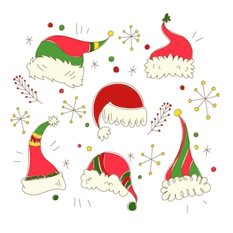 Ręcznie rysowane kolekcja santa calus hat