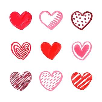 Ręcznie rysowane kolekcja serca projekt