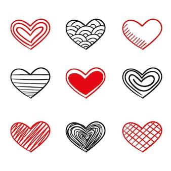 Ręcznie rysowane kolekcja serca w stylu