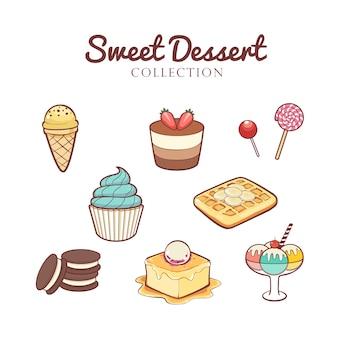 Ręcznie rysowane kolekcja słodkich deserów