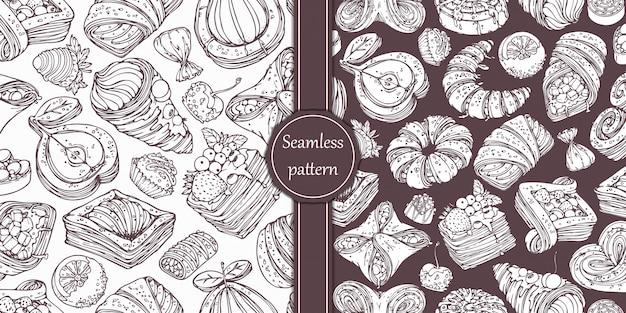 Ręcznie rysowane kolekcja słodkich wyrobów cukierniczych w stylu vintage.