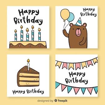 Ręcznie rysowane kolekcja śmieszne karty urodziny