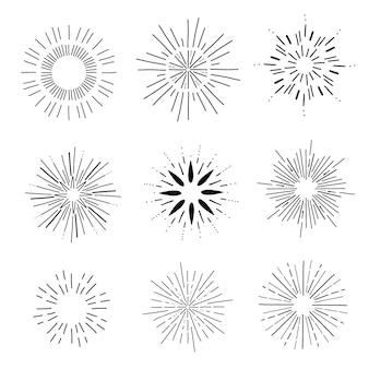 Ręcznie rysowane kolekcja sunburst w stylu