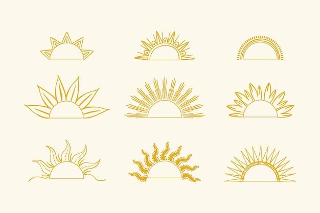 Ręcznie rysowane kolekcja sunburstst