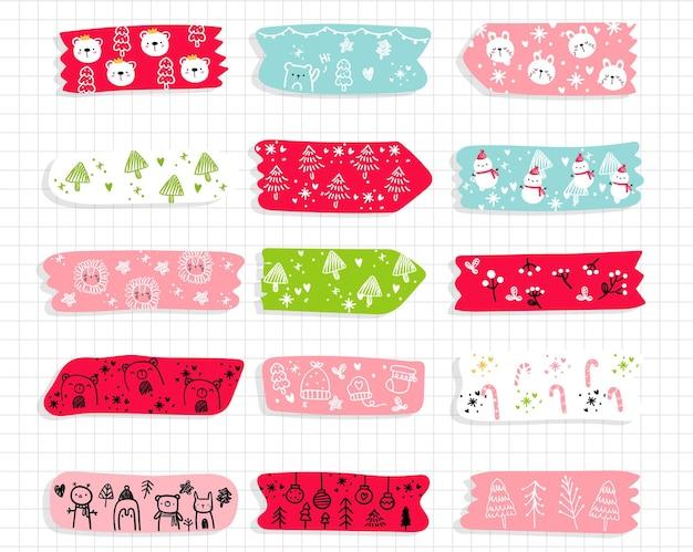 Ręcznie rysowane kolekcja świąteczna taśmy washi