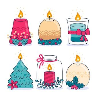 Ręcznie rysowane kolekcja świątecznych świec