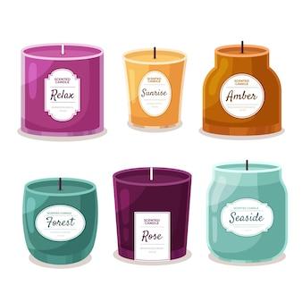Ręcznie rysowane kolekcja świec zapachowych