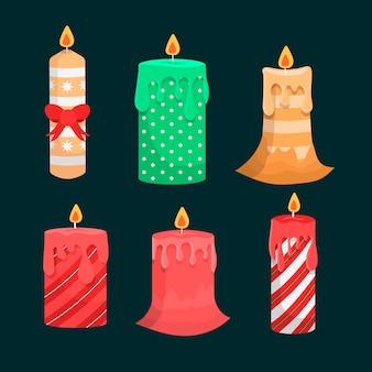 Ręcznie rysowane kolekcja świeczek świątecznych