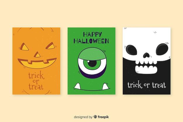 Ręcznie rysowane kolekcja szablon karty halloween