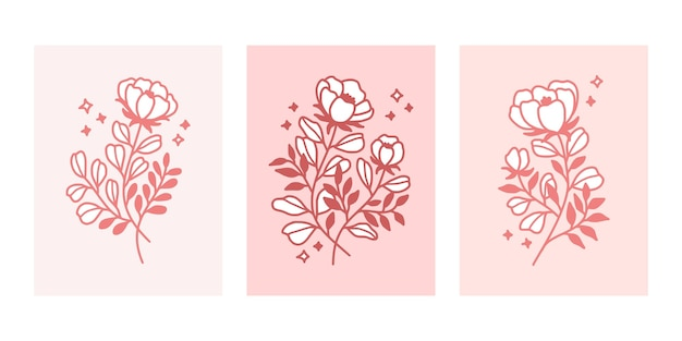 Ręcznie rysowane kolekcja szablonów kart różowy kwiat botaniczny