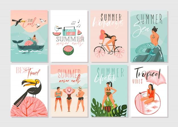 Ręcznie rysowane kolekcja szablonów kart z ilustracjami abstrakcyjnych kreskówek w okresie letnim z ludźmi na plaży, syrenką i wielorybami, zachodem słońca i tropikalnymi ptakami na białym tle