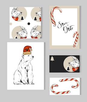 Ręcznie rysowane kolekcja szablonów kartek z życzeniami wesołych świąt z jelenia, niedźwiedzia polarnego, choinek, lasek cande i fazy nowoczesnej kaligrafii.