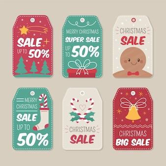 Ręcznie rysowane kolekcja tag sprzedaż boże narodzenie